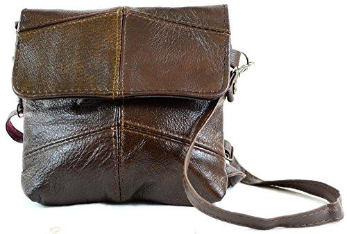Da donna in pelle con comoda tracolla/borsa a tracolla/borsa con tracolla staccabile (nero, marrone, marrone chiaro) Dark Brown