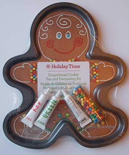 Large Christmas Gingerbread Man Cookie Pan & Decorating Kit (12 x 14) by Holiday Time Christmas Cookie Pan