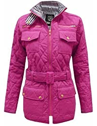 Candy Floss Quilted Womens Belted Padded Zip Jacket Top