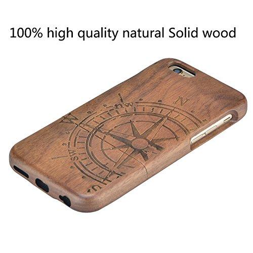 Wooden Case Cover,Vandot Unico Reale Handmade Legno [Naturale WoodBack Lavorato Custodia] Per iPhone 6 Plus / 6S Plus 5.5 Pollici - [Cranio] Style 1
