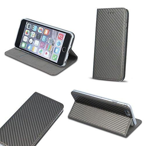 BOOK CASE SMART MAGNET CARBON für Samsung Galaxy S8 Plus SM-G955U S8 Edge G955U S8+ Cover Handy Tasche Flipcase Etui Buchform Kunststoff TPU Halterung für Kreditkarten (grau / gray)