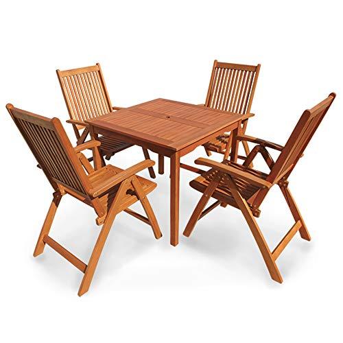 Indoba Designer Gartenmöbel Set 5-teilig Gartenset Eukalyptus Tisch Stuhl Gartentisch Gartenstühle Garten Set