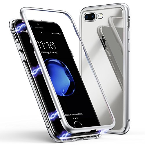 Custodia per iphone 7 plus,custodia per iphone 8 plus, custodia ad assorbimento magnetico zhike montatura in metallo ultra sottile vetro temperato con cover magnetica integrata [supporta la ricarica wireless] per apple iphone 7 plus/8 plus (bianco trasparente)
