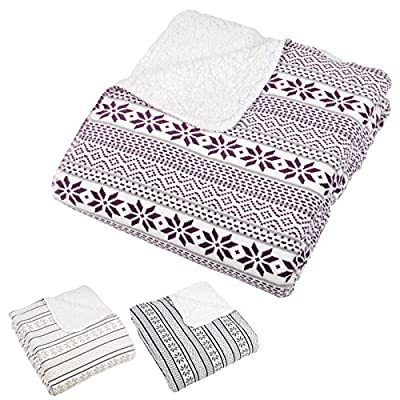 Fairisle Design Warm Fleece Blanket Super Soft Sherpa Luxury Home Sofa Bed Throw - low-cost UK sofabed shop.