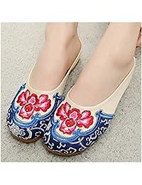 Bonitos y Elegantes Zapatillas Bordadas de Flores Lotus Azul 36