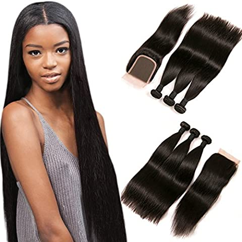 DAIMER Straight Brazilian Hair with Closure Free Part 4x4 Lace Frontal and Baby Hair 3 Bundles 100 Human Hair Weave Natural Color 22 24 26 +20 Inch
