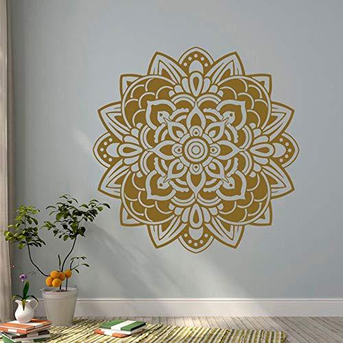 Mandala Wall Sticker Vinile Artista Residenza Decorazione Camera Studio Murale Yoga Lotus Indian Decalcomania da muro Staccabile Interior Design Sticker Caffè 114x111cm