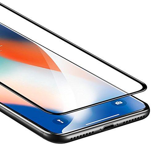 iPhone X Panzerglas Schutzfolie, ESR Vollständige Abdeckung 9H, 5-Mal verbesserte gehärtetes Glas Folie [Blasenfrei Selbst] [3D Touch] Anti-Fingerabdruck für iPhone 10 (5.8 Zoll) Folie , Schwarz