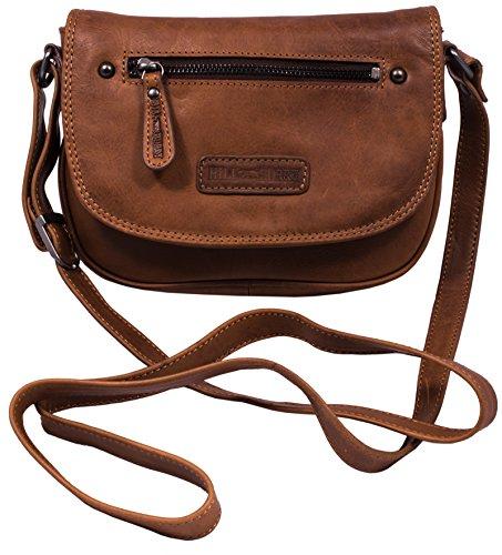 Hill Burry Unisex Shoulder Bag | Shoulder bag made of natural leather - Travel bag in vintage look (brown vintage) Braun Vintage