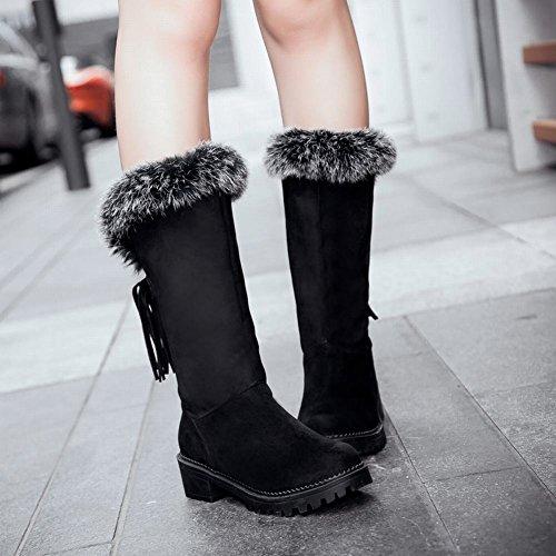 Mee Shoes Damen chunky heels runde Nubukleder Schneestiefel Schwarz