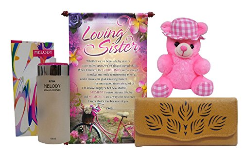 Saugat Traders Gift For Sister - Sister Scroll Card, Branded Perfume, Soft Toy & Women's Wallet