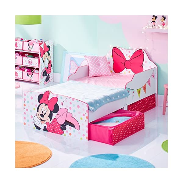 Hello Home Minnie Mouse Toddler Bed with Underbed Storage, Wood, White, 142 x 77 x 63 cm  Perfect for transitioning your little one from cot to first big bed The perfect size for toddlers, low to the ground with protective side guards to keep your little one safe and snug Two handy underbed, fabric storage drawers 3