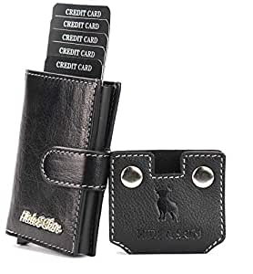 HIDE & SKIN Pitch Black Leather RFID Blocking Men's and Women's Card Holder (Pitch Black)