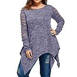 MRULIC Damen Blusen Fashion Schwarze Plus Große Tunika Herbst Winter Kleidung Tops T-Shirt Sweatshirt Pullover Bluse Oberteile Oversized Top(A-Grau,EU-40/CN-L)