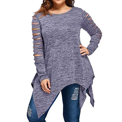 BHYDRY Damen Langarm Plus Größe Mode Bluse T-Shirt Bluse Tank ()