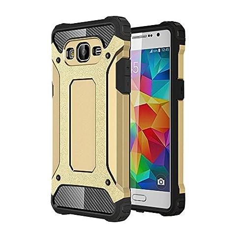 Skitic Etui Housse Coque Anti Choc pour Samsung Galaxy Grand Prime (SM-G530), 2 en 1 Hybride Armour Case TPU + PC Incassable Back Cover Rigide Coque de Protection pour Samsung Galaxy Grand Prime G530 Smartphone - Or