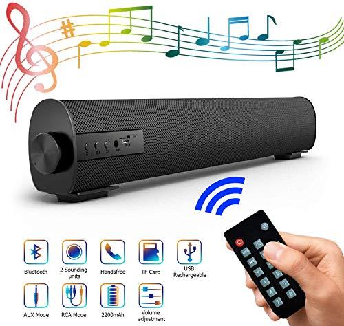 Soundbar Lautsprecher für TV, 42.9cm Tragbarer 4.2 Bluetooth Speaker Soundbox mit 2200mAh Akku, 2 x 5W Stereoanlage kabelgebundenes und kabelloses Heimkino Soundbar mit Subwoofer für PC, Phone, Tablet