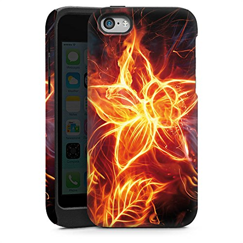 Apple iPhone 5s Housse Étui Protection Coque Feu Feu Fleur Cas Tough brillant
