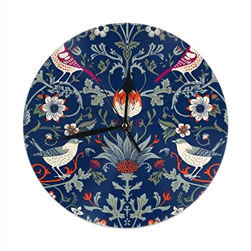 Morris Bird (Hectwya Colorful Morris Dark Enchanted Vintage Flowers and Birds Round Wanduhr for Living Room Bathroom Home Decorative - Diameter 9.84 Inch)