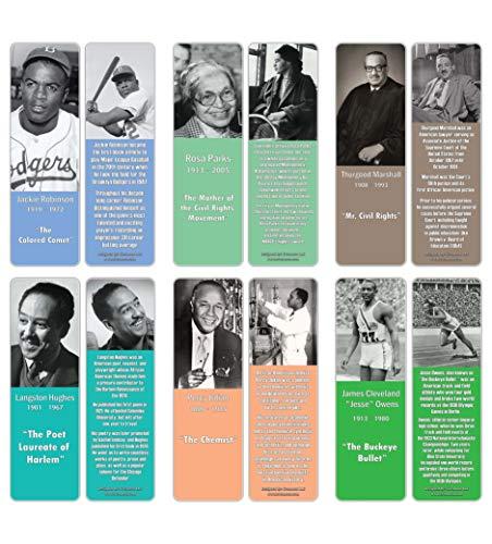 Creanoso Lesezeichen-Set mit historischen afrikanischen Amerikanern Serie 2 (30 Stück) - Lesezeichen-Sammlungs-Set - Strumpffüller für junge Männer und Frauen, Studenten - Klassenzimmer Incentives