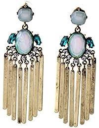 Blue Stone Tassel Earrings