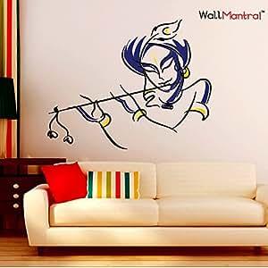 9f4820369ba WallMantra Colourful Krishna Wall Sticker for Living Room Self ...