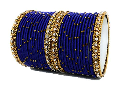 Sai Blue Colour Handmade Silk Thread Metal Bangles Set for Women and Girls Stylish Traditional Bridal Jewellery Sets with Stone Work Zircon oxidised Bracelet (Pack of 28 Bangle)