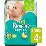 Couches Pampers Baby Dry taille 4  + Pack Essential 41 par paquet