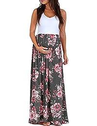 Zehui Vestido largo para mujer, sin mangas, estampado, embarazada, falda de Splicing