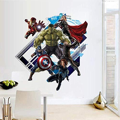Super Hero Wandaufkleber Kinderzimmer Dekoration DIY 3D Iron Man Wonder Woman Hulk Movie Poster PVC Abziehbilder (Wonder Woman Blatt)