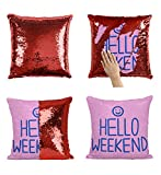 Hello Weenkend Smile P309 Sequin Pillow, Funny Pillow, Sequin Reversible Pillow, Kissenbezug Kissen, Décor, Gift for Him Her, Birthday Christmas Halloween, Present (nur Kissenbezug)