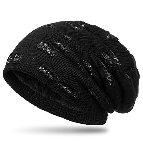 Caspar MU178 gefütterte Feinstrick Beanie Mütze im Destroyed Glitzer Look, Farbe:schwarz, Größe:One Size