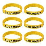 LUOEM Pulsera de silicona con pulsera de silicona inspirada Pulsera de mujer con forma deportiva, adulto unisex Moda de adulto suprema para Copa Mundial 2018, paquete de 6 (Colombia)