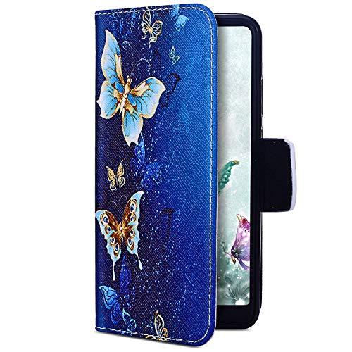 Uposao Kompatibel mit Huawei Y7 2019 Hülle Leder Case Handyhülle Bunt 3D Muster Flip Leder Schutzhülle Handy Tasche Brieftasche Wallet Handytasche Kartenfach,Gold Schmetterling
