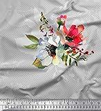 Soimoi Grau Viskose Chiffon Stoff Punkt, Blätter & Anemone
