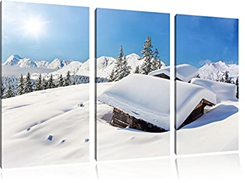 Refuges de montagne dans les Alpes enneigées 3-piece Canvas Art 120x80 image on canvas, XXL huge Pictures completely framed with stretcher, Art print on wall picture with frame, gänstiger as a painting or an oil painting, not a poster or banner