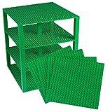 Stapelbare, grüne Premium-Grundplatten von Stricly Briks – 4er-Bündel 25.5 cm x 25.5 cm Grundplattenbündel mit 30 grünen Bonusbausteinen – Turmbau
