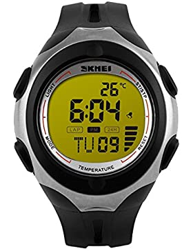Skmei Herrenuhr Digitaluhr Thermometer Armbanduhr 5 ATM Wasserdicht Outdoor Sportuhr