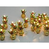 FIZZYTECH Electric Gold 25 PC Kalash Diya Deepak White Rice Light Lamp.