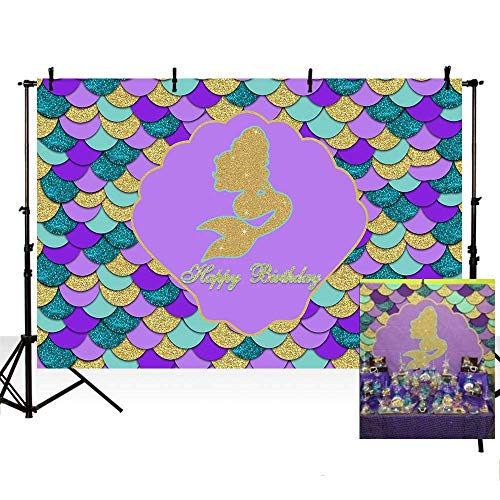 EdCott 7 x 5 ft lila blaugrün Foto Glitter Gold Meerjungfrau unter dem Motto Bunte Shell Happy Birthday Party Dekoration Kulissen Fotografie Hintergrund Foto Banner Neugeborenes Baby Portrait Foto (Und Dekorationen Lila Gold)