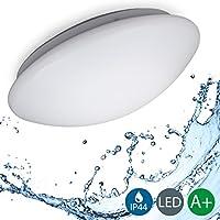 B.K.Licht LED Deckenleuchte, Bürodeckenleuchte, Balkonleuchte, Balkonlicht, Badezimmerleuchte, Badezimmerlampe, Innenleuchte, Außenleuchte, IP44 spritzwassergeschützt, weiß, Ø29cm, 120° Abstrahlwinkel