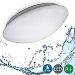 B.K.Licht LED Deckenleuchte, Balkonleuchte, Balkonlicht, Badezimmerleuchte, Badezimmerlampe, Innenleuchte, Außenleuchte, IP44 spritzwassergeschützt, weiß, Ø29cm, 120° Abstrahlwinkel