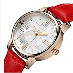 Ladies leather strap watch/Waterproof quartz watches/Simple casual female form-O