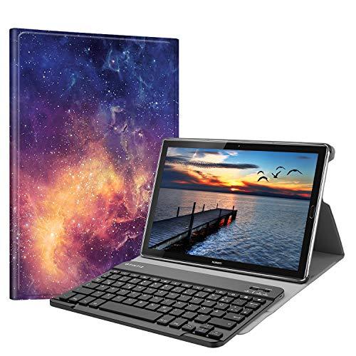 Fintie Huawei Mediapad M5 10.8/10.8 Pro QWERTZ Bluetooth Tastatur Hülle - Ständer Schutzhülle mit Magnetisch Abnehmbarer Drahtloser Deutscher Bluetooth Tastatur für Huawei M5 10,8 Zoll, Die Galaxie
