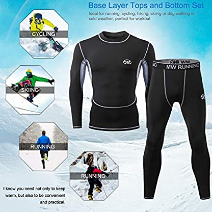 MeetHoo Men's Thermal Underwear Set, Compression Base Layer Sports Long Johns Fleece Lined Winter Gear Running Skiing 6