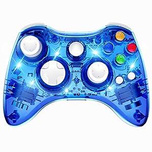 PAWHITS Kabelloser Xbox 360 Controller mit Doppelmotor-Vibration, kabellos, Gamepad Blau blau