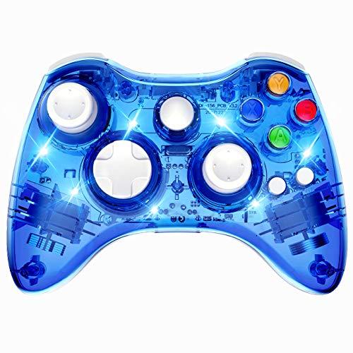 PAWHITS Kabelloser Xbox 360 Controller mit Doppelmotor-Vibration, kabellos, Gamepad Blau blau - Controller Led Blau Xbox 360