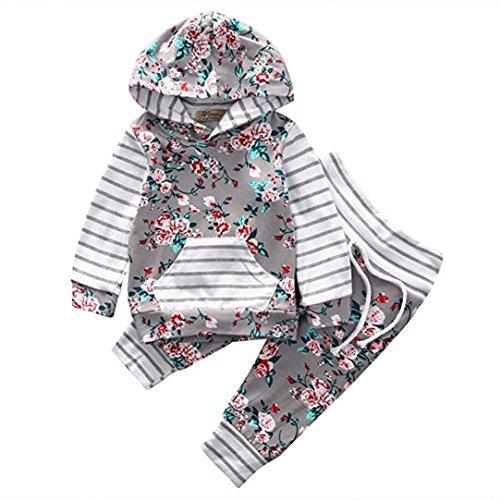 HUHU833 Neugeborene Baby Kinder Mädchen Kleinkind Lange Hülsen gestreifte Hoodie Tops + Hosen 2 Stück Herbst Ausstattungs Kleidungs Sätze (100CM-3T, Grau) (Ein Herbst Kleidung Stück)