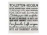 Interluxe HOLZBLOCK Shabby TOILETTEN Regeln * Weiss* Badregeln Schild Aufsteller für das Badezimmer Deko