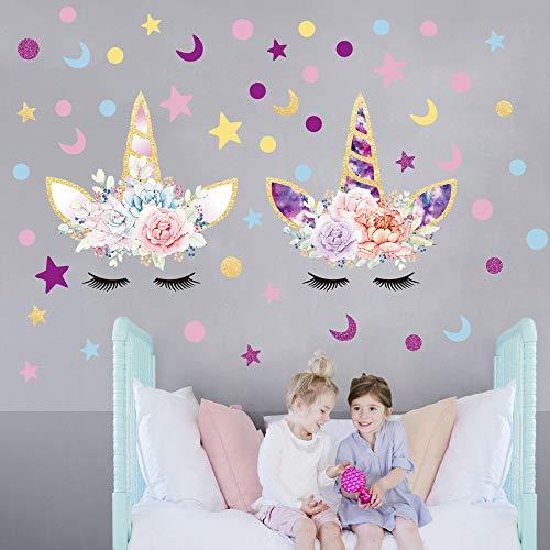 Sayala 2 Stück Einhorn Wandtattoo Kinderzimmer/Einhörner mit Sternen Wandsticker...